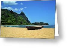 Boat And Bali Hai Greeting Card