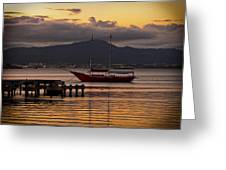 Boat And The Sunset Greeting Card