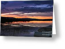 Boat At Sunset Greeting Card