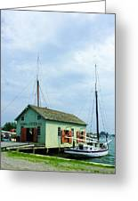 Boat By Oyster Shack Greeting Card