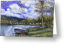 Boat By The Lake Greeting Card