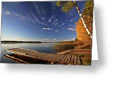 Boat Dock And Autumn Trees Along A Saskatchewan Lake Greeting Card