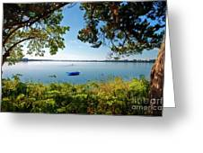 Boat Framed By Trees And Foliage Greeting Card