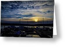 Boat Harbor At Sunset Greeting Card