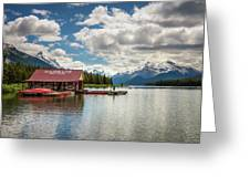 Boat House And Canoes On A Jetty At Maligne Lake In Canada Greeting Card