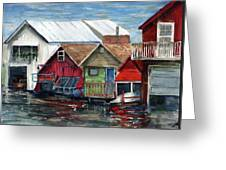 Boat Houses On The Lake Greeting Card
