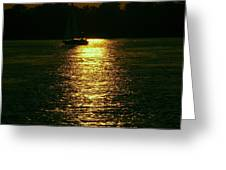 Boat In The Reflection Greeting Card