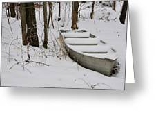 Boat In Winter Greeting Card