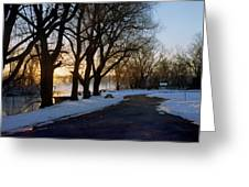 Boat Launch In Winter Greeting Card