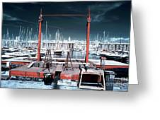 Boat Lift In The Port Greeting Card