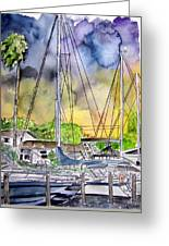 Boat Marina Greeting Card