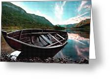 Boat Near The River Bank H B Greeting Card