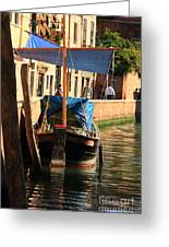 Boat On Canal In Venice Greeting Card