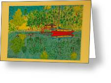Boat On Lake Greeting Card