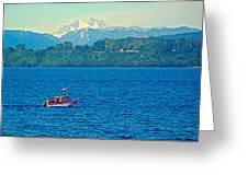 Boat On Llanquihue Lake From Puerto Varas-chile Greeting Card
