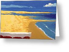 Boat On The Sand Beach Greeting Card