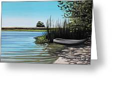 Boat On The Shadowed Beach Greeting Card