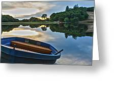Boat On The Shore Of A Lake  Greeting Card