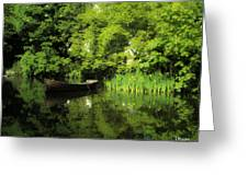 Boat Reflected On Water County Clare Ireland Painting Greeting Card