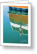 Boat Reflection In Water  Greeting Card
