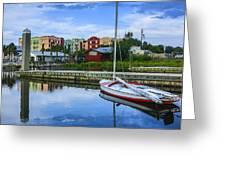 Boat Reflections Of Fernandina Beach Greeting Card