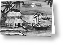 Boat Sailing In Moon Light Greeting Card