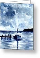 Boat Scene - Blue Sky Greeting Card
