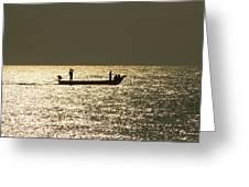 Boat Silhouette In Sunrise At Marina Beach, Chennai Greeting Card