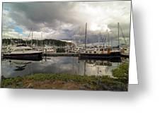 Boat Slips At Anacortes Marina In Washington State Greeting Card