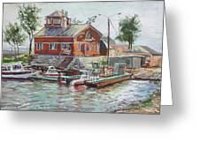 Boat Station On Krestovsky Island In St.-petersburg Greeting Card
