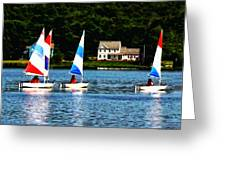 Boat - Striped Sails Greeting Card