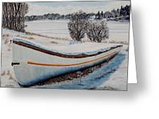 Boat Under Snow Greeting Card