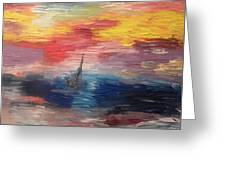 Boat Under Storm Greeting Card