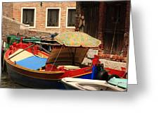 Boat With Umbrella On Canal In Venice Greeting Card
