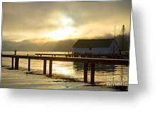 Boathouse Daybreak Greeting Card