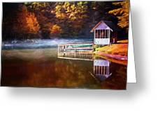 Boathouse In Autumn Oil Painting Greeting Card