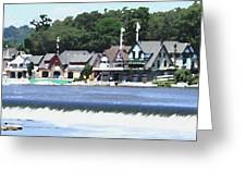 Boathouse Row - Palette Knife Greeting Card
