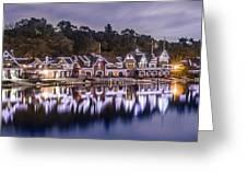Boathouse Row Night Blue Greeting Card