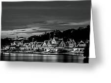 Boathouse Row Philadelphia Pa Night Black And White Greeting Card