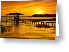 Boathouse Sunset Greeting Card