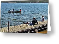 Boating And Sitting On The Dock Greeting Card