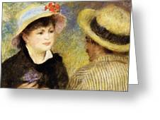 Boating Couple Aline Charigot And Renoir 1881 Greeting Card
