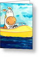 Boating Cow Greeting Card by Scott Nelson