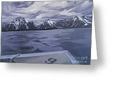 Boating Jenny Lake, Grand Tetons Greeting Card