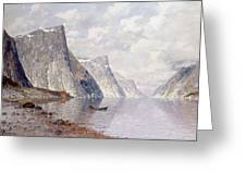 Boating On A Norwegian Fjord Greeting Card