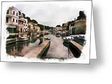 Boats Anchored Greeting Card