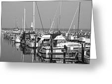 Boats And Reflections B-w Greeting Card