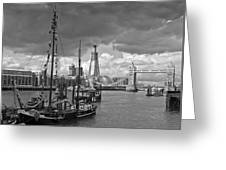 Boats And Shard And Tower Bridge Bw Greeting Card