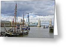 Boats And Shard And Tower Bridge Greeting Card