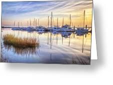 Boats At Calm Greeting Card